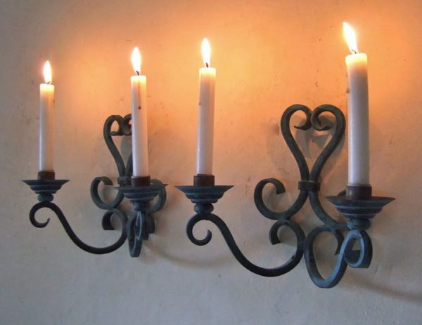 Pair Antique French Blacksmith Forged Iron Candle Sconces